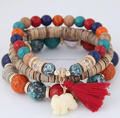 Men's & Women's Bohemian Elephant Fringe Bracelet & Wooden Beaded Bracelet Set Bracelet