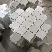 China Art Design Bianco Carrara White Arabesque Marble mosaic tiles Waterjet Artistic Lantern Mosaic Tile