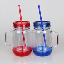 Best selling 20OZ double wall plastic mason jar with handle and straw