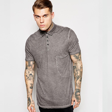 longline oversized pocket polo shirt with oil wash