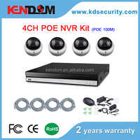 Kendom POE Power supply 100 meters 4channel Professional POE NVR Kit 4pcs IP POE dome camera with HD onvif NVR Kit