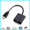 Black HDMI to VGA Cable Audio Converter With 3.5mm Audio