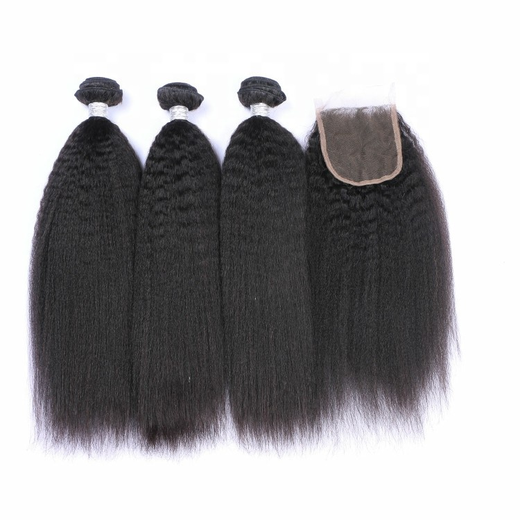unprocessed soft and smooth cuticle aligned human hair weave bundles closure
