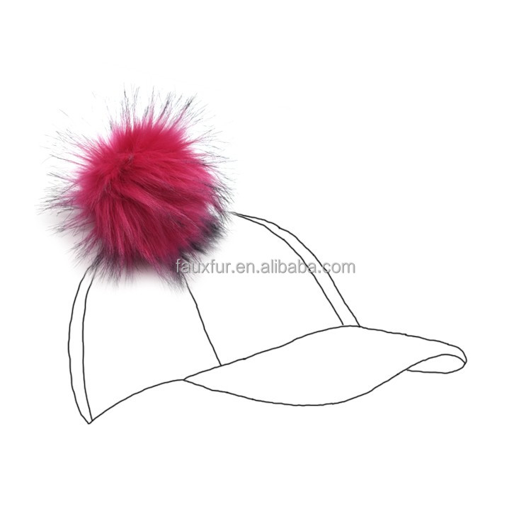 Natural Colour Faux Raccoon Fur Ball Hat Custom Puff Pom Pom