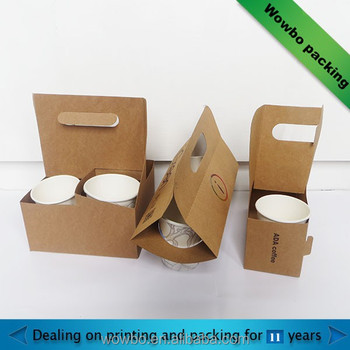 Custom kraft paper cup holder take away box