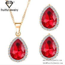 hot sale fashion big diamond ruby pendant elegant charm necklace set,earring and necklace