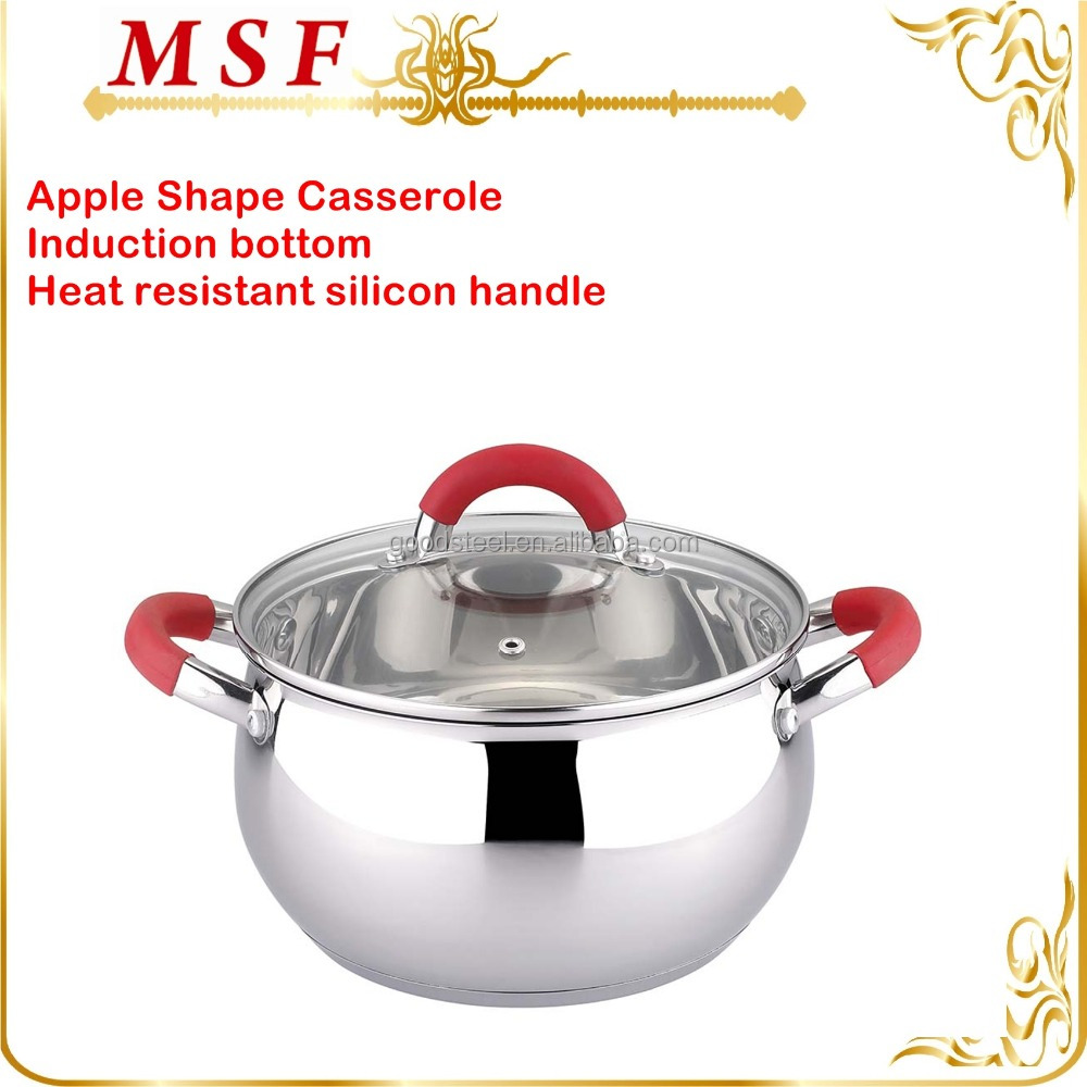 MSF-3308 Apple shape stainless steel casserole pot sizes can be 16cm to 28cm