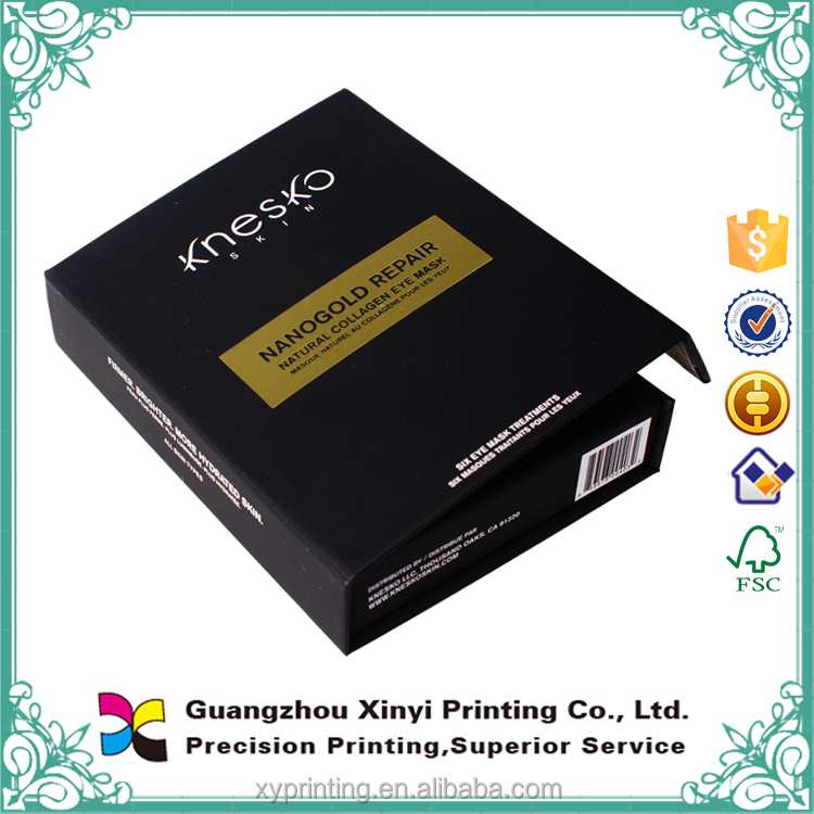 Logo customized silvery stamping embossing black paper magnetic gift box cheapest