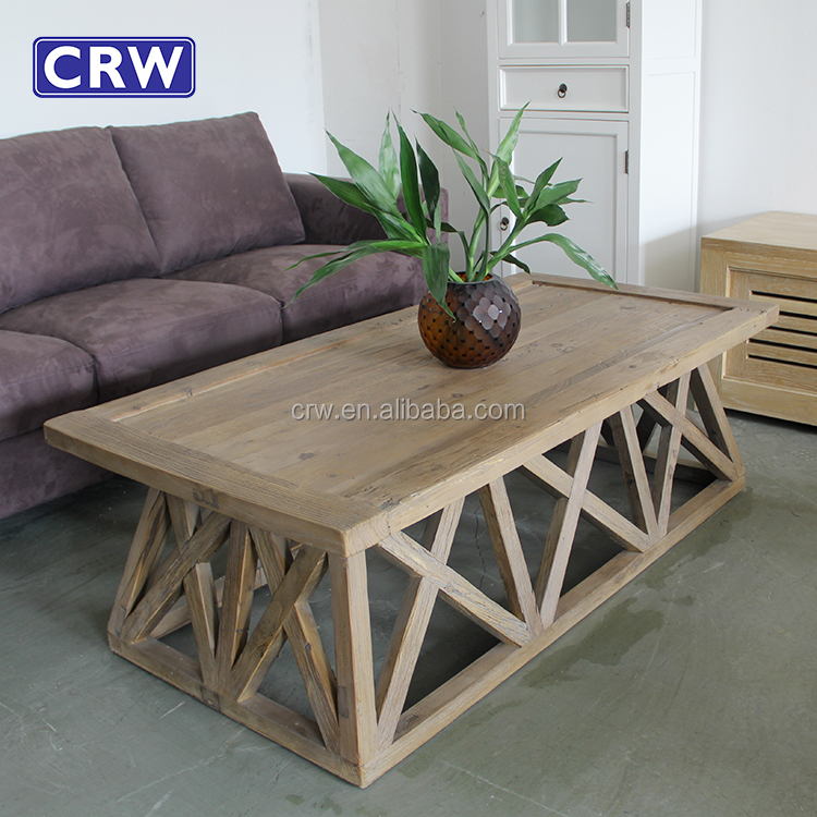 Cross Legs Wooden Vintage Elm Coffee Table Reclaimed Wood
