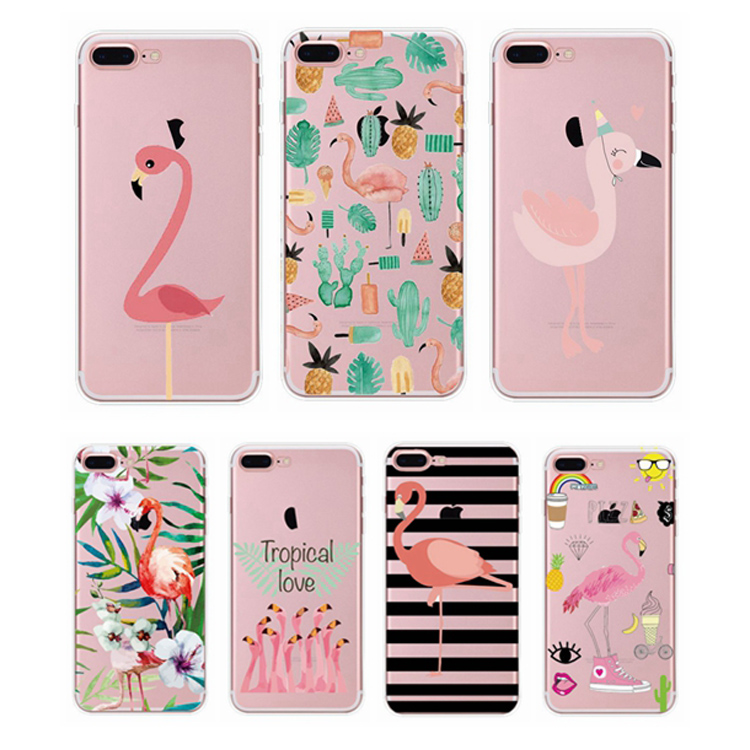 Hot new 2017 cartoon silicone mobile cover for iphone 6 flamingo phone cases for iphone 6s plus
