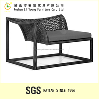 Western style squire shape rattan waterproof and sunproof plastic side chair , black color durable leisure cheap chair covers