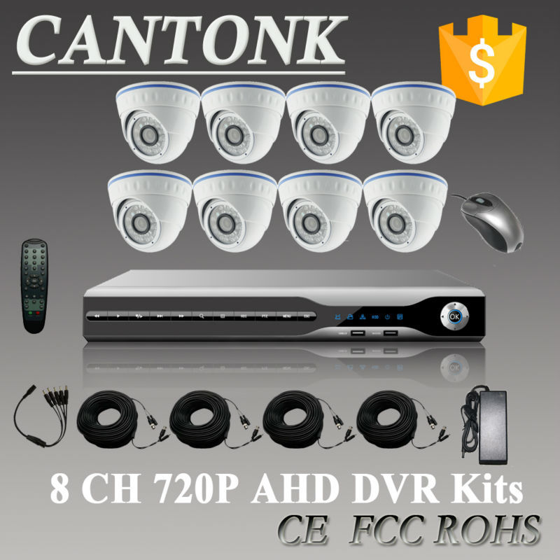 Home CCTV surveillance 8 channel 720P CCTV Security Camera System 8ch DVR AHD 960H Camera Kit