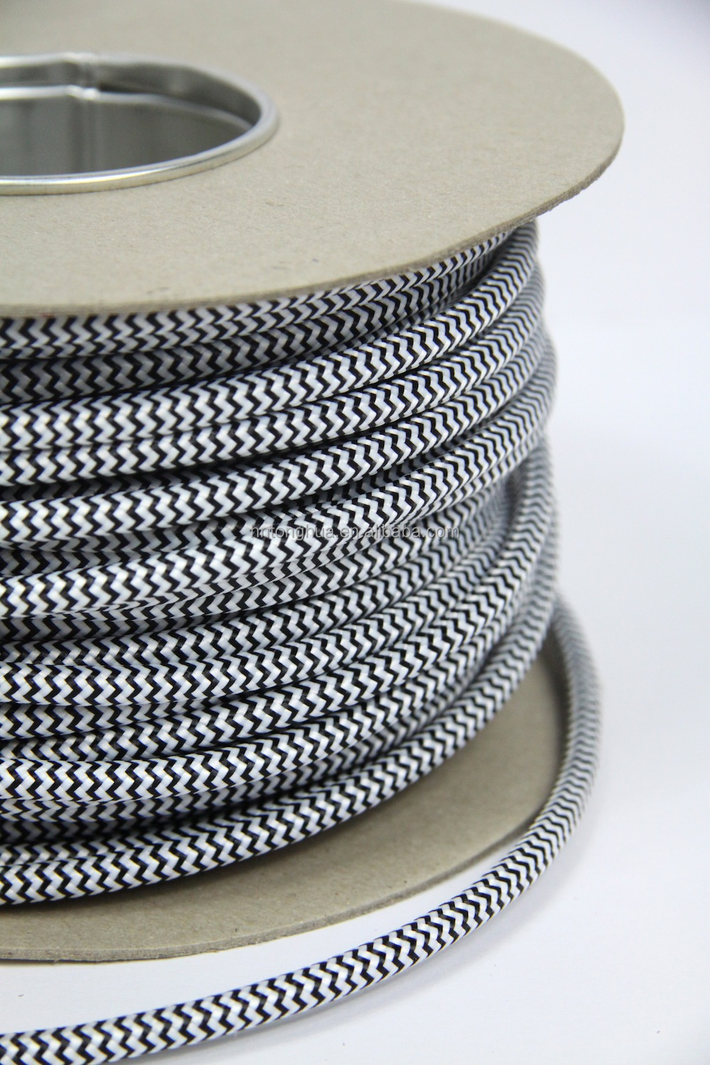 Cloth Covered Round Electrical Cord Vintage Fabric Braid