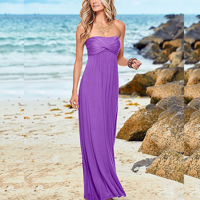 Elegant Women Sexy Off Shoulder Dress Strapless Casual Long Maxi Dress