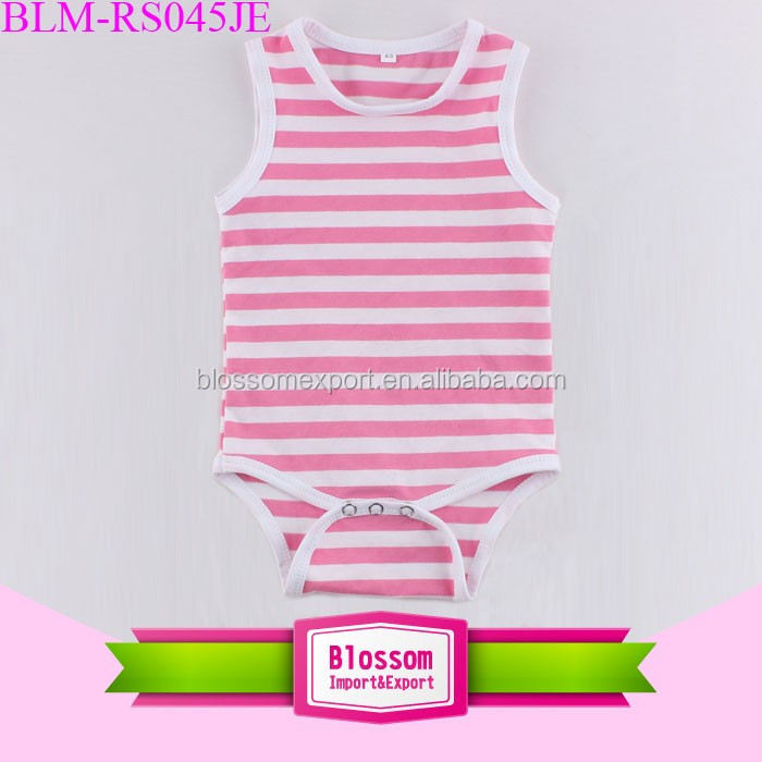 Summer wear girls baby romper onesie sleeveless plain baby rompers newbron cotton blank rompers