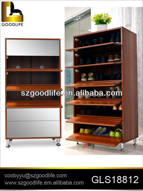 New design shoe rack designs wood for 25 pairs shoes