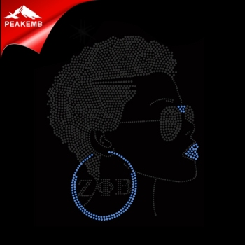 Custom Zeta Afro Girl rhinestone transfer heat press for tshirts