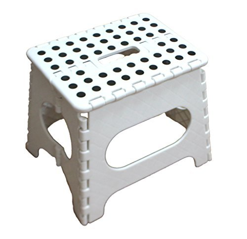 Home Foldable Step Stool for Kids - 11 Inches Wide and 9 Inches Tall - White and Black - Holds Up to 300 lbs