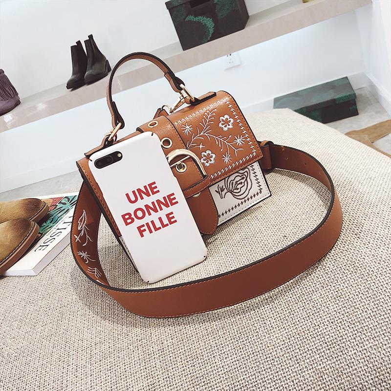 Toposhine Fashion Women Bag Panelled Vintage Flower Girls Bags for Girls Black PU Leather Women Messenger Bags Drop Shipping 22