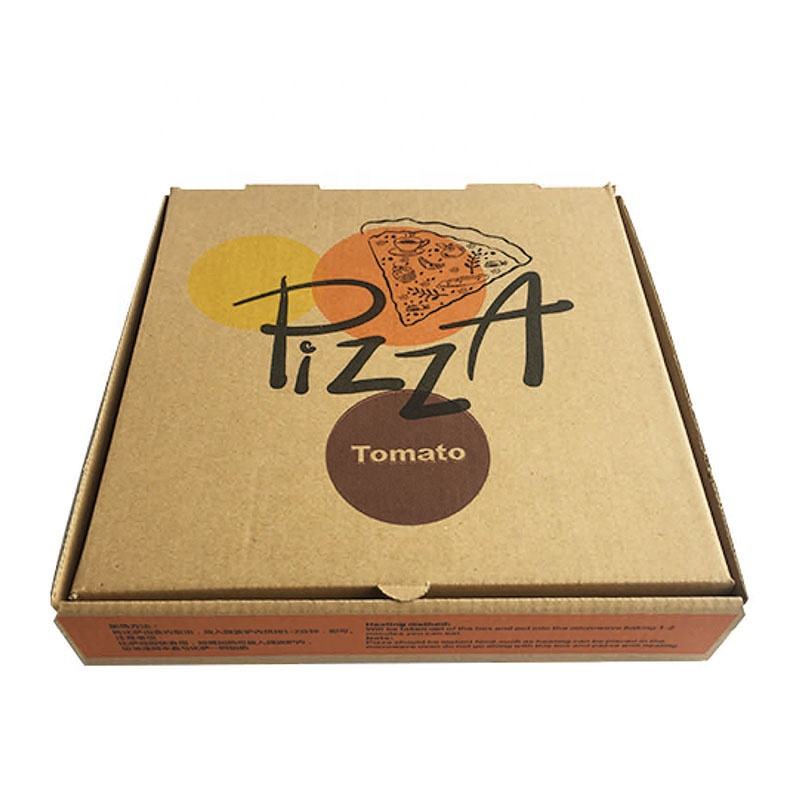 Disposable custom logo printed lock corner clay coated take away kraft paper pizza packing box