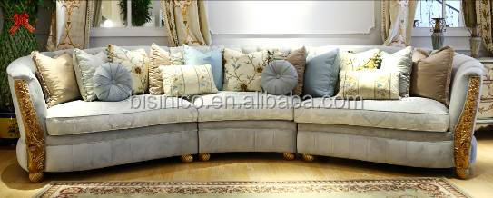French Vintage Living Room Wooden Carved 6 Seats Extra Long Sofa/ European New Design Elegant Fabric Corner Sofa Set