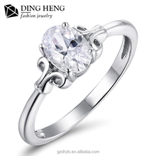 Wholesale New Fashion Jewelry Womens Wedding 18K White Gold Value Diamond S925 Silver Rings For Girl