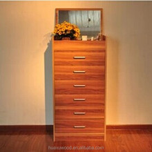 HX-MZ780 glamorous teak six drawers chest with foldable mirror