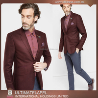 High Fashion Single Two Button Wine Color Men Tailored Suit