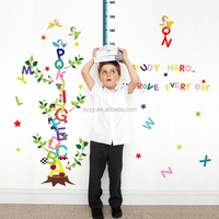 SK9087 Learning English DIY kids room decorative wall sticker English alphabet kids height gown chart