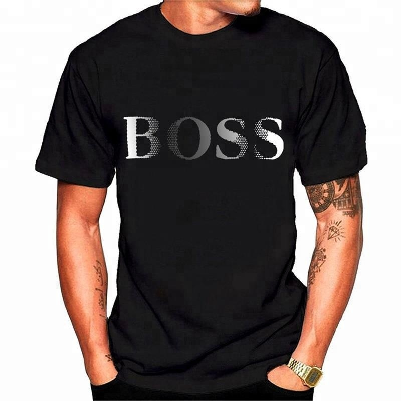 Fashion Casual Boss T-shirts Custom Logo 100% Cotton Blank Tee Shirts DIY Design Men's Clothing Wholesale Made In China Factory