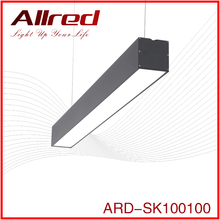 4000k 40w wholesale rectangular commercial aluminum linear led modern pendant wooden chandelier light for supermarket