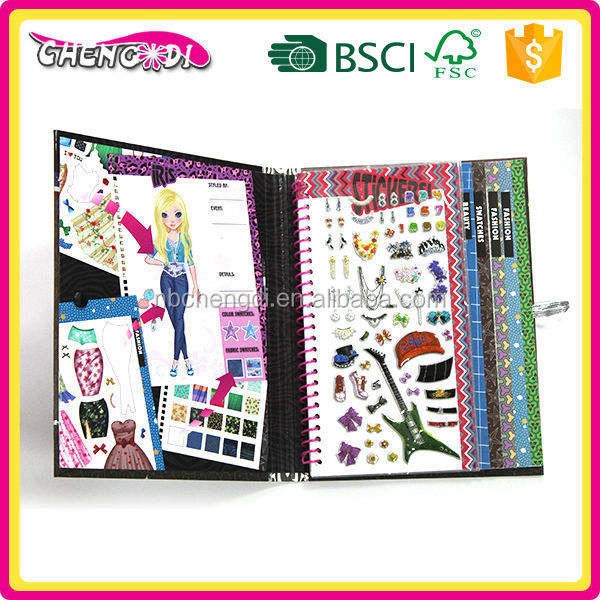 Best Selling childrens sticker book, childrens clothing sticker books, children thick paper book printing