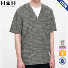 High quality yard dyed v-neck loose fiting mens clothes designing