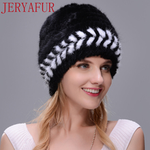 New Winter Warm Hat Real Natural Mink Fur Ear Warm Cap For Women Two-color Spiral Weaving With Small Fox Fur Pompom On The Top