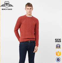 New Models Design Fall Orange Men Custom Pullover Thick Baggy Cable Knit Sweater