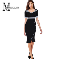 2016 Office Dresses Ladies Short Sleeve Summer New Fashion Work Wear Elegant Buttons Design Bpdycon Formal Women Pencil Dress