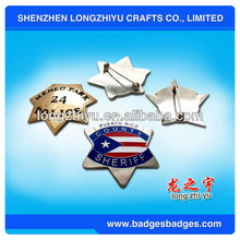 Die Casting Brass Military Badge Pin Star Sheriff Badge With Safety Pin