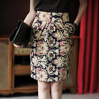 Korea Stylish Floral Vintage Retro Women Elegant Skirt
