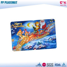 Non-toxic Christmas Santa Claus Elk designed FDA grade 3D PP placemat for promotional gift