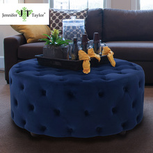 Modern round velvet fabric covered ottomans for living room furniture
