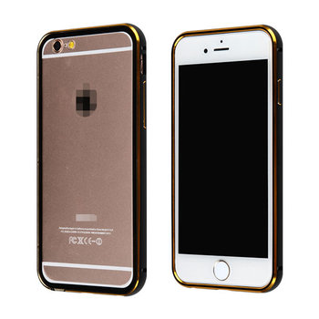 C&T Gold aluminum Metal Frame Hybrid Case Clear Back Cover for iPhone 6s