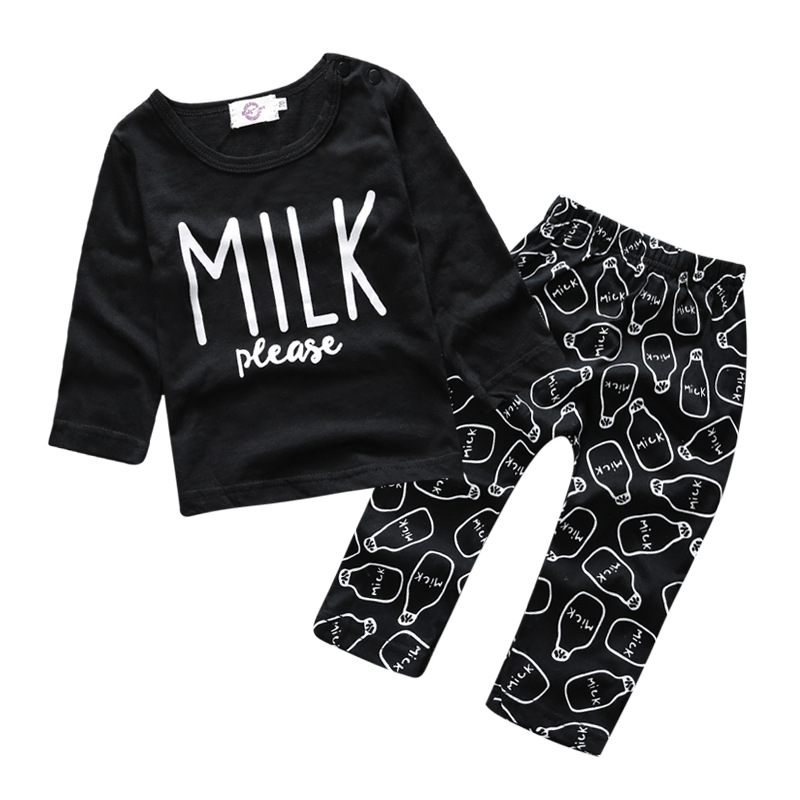 Baby Girls Clothing Sets 2016 Autumn Baby Boy Clothes Suits Long Sleeve Letter Print T-shirt+Pants 2Pcs Newborn Sets