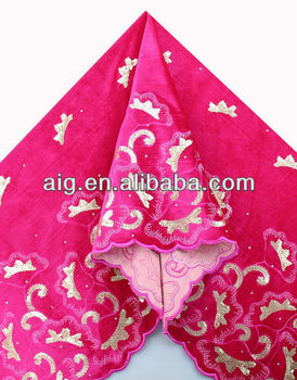 African Velvet Lace Fabric, Velvet Lace with sequins ,5983 FUSHIA PINK