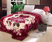 Raschel mink blanket polyester customize design thick Korean blanket super soft cheap Flannel Fleece Blankets in bulk