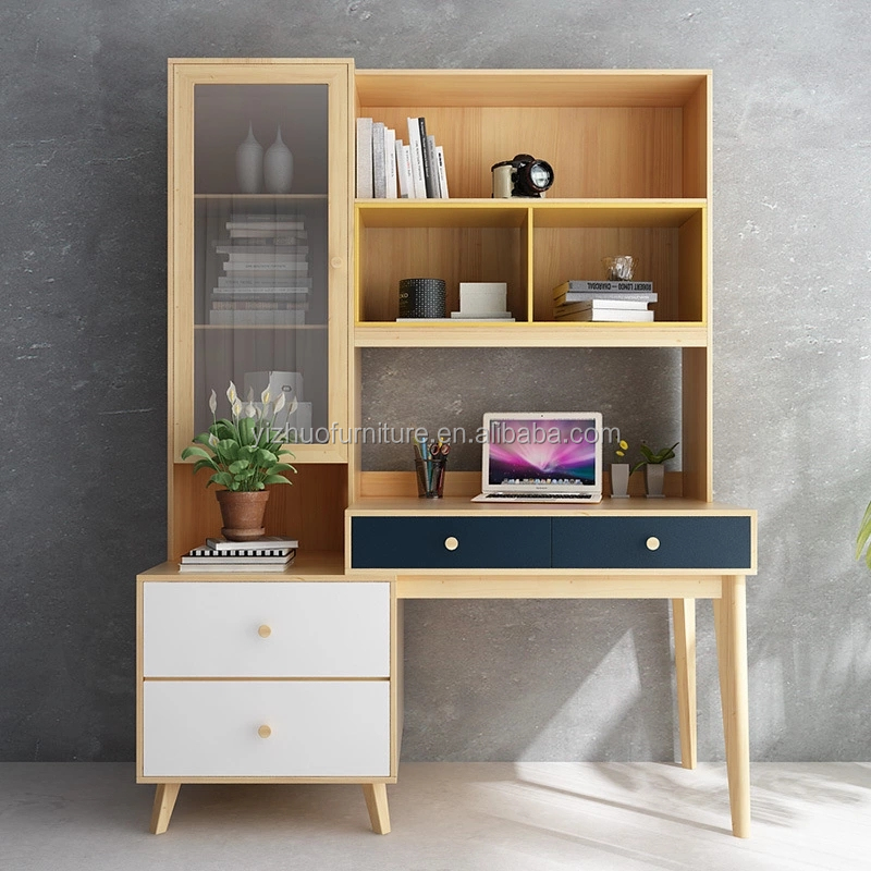 hot selling home E1 grade mdf office furniture wooden used computer desk with bookshelf