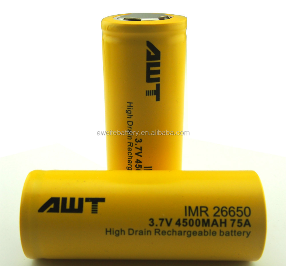 High quality AWT 26650 4500mah 75A rechargeable 3.7v battery 16430 li ion battery