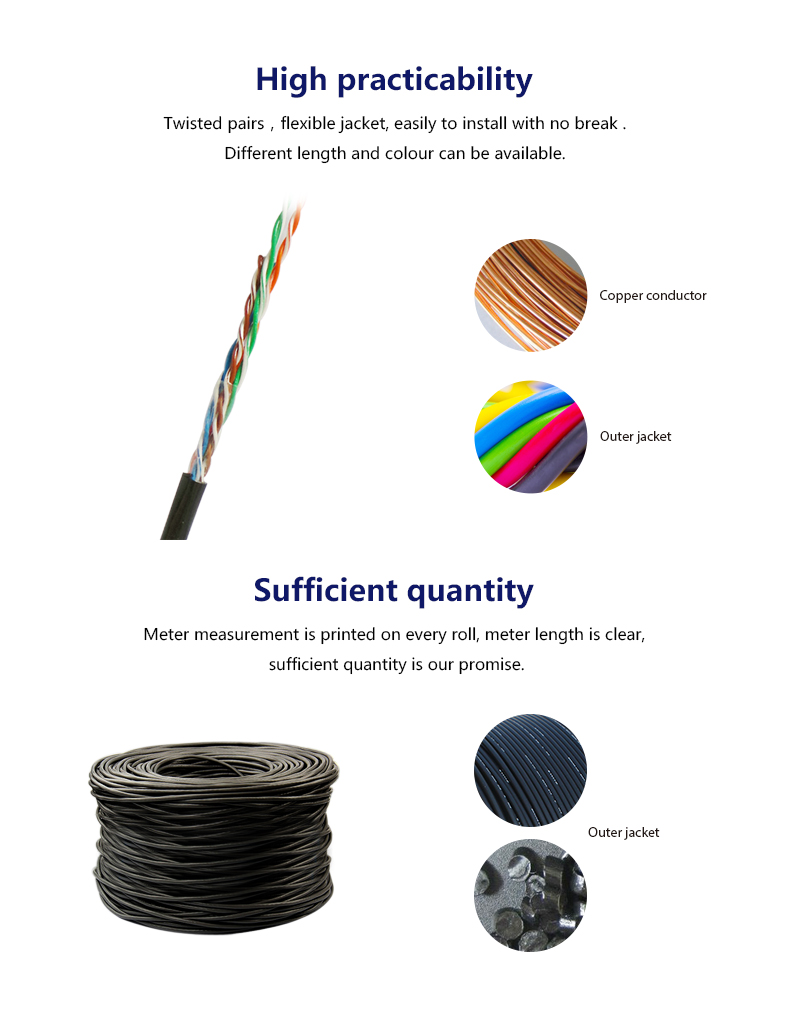 Outdoor UTP CAT 5E  Ethernet cable with solid copper 4 pairs 1000ft  305 meteos