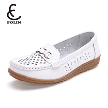 Women loafer manufacturers Spring Shoes Split Leather custom loafers Cut out Flat Black White Nurse Woman Slip-on Loafer Shoes