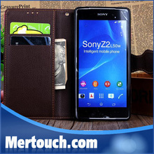 for sony z2 wallet case, wallet card holder case for sony z2 with high quality leather auto design