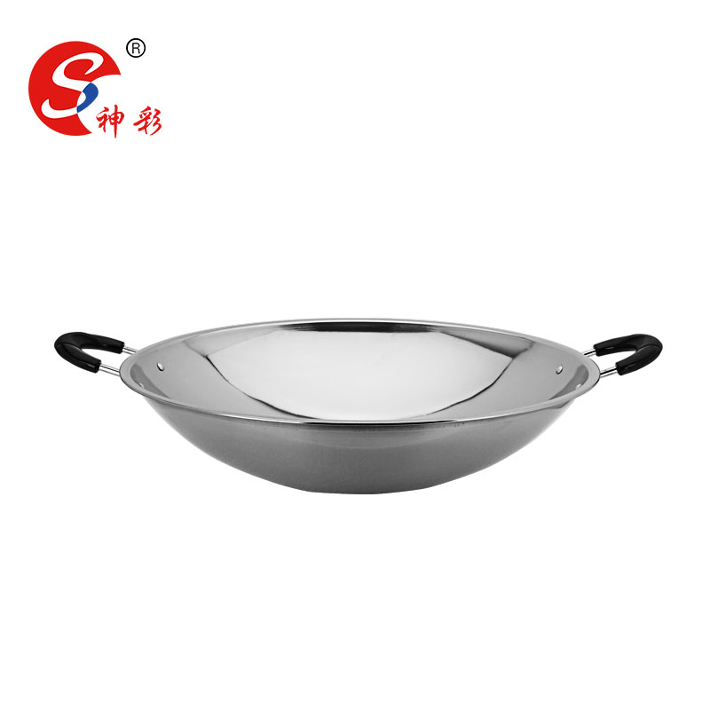 3648cm magnetic stainless steel wok magnetic frying pan with two handle buy double handle fry steel frying steel wok product